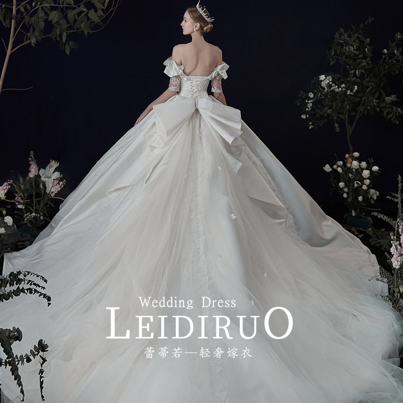 Psalms French winter long-sleeve satin one-word shoulder main wedding dress 2020 new bride temperament drag tail starry sky