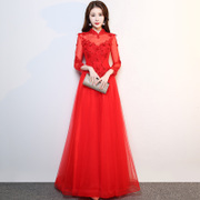 2017 new winter clothing bride toast red wedding dress evening dress back years female elegant banquet