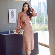 Autumn and winter Korean version of the bottom-end self-cultivation celebrities middle-length knitted skirt