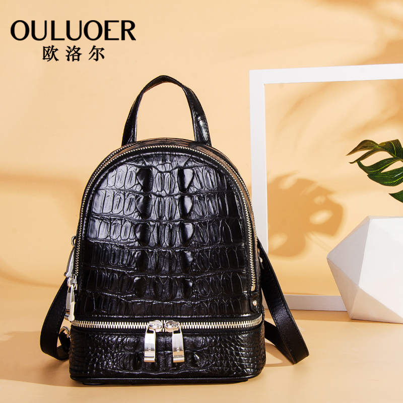 Orol Thai Crocodile Skin Shoulder Bag Women 2019 New High-end Genuine Leather Bag Leisure Fashion Backpack
