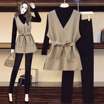 High-end size womens clothing 2021 autumn and winter New fat sister cover meat thin foreign-style sweater vest three-piece pants