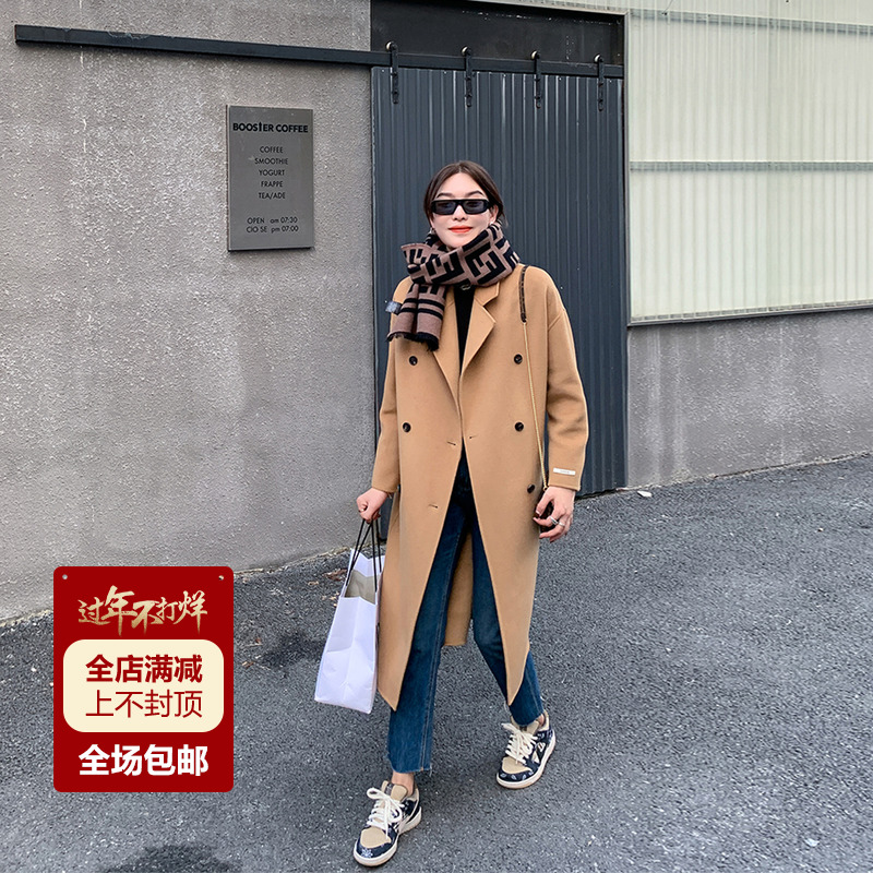 Double-sided cashmere coat womens 2020 new winter Hepburn medium-length version of the profile of the British camel-colored fur coat girl