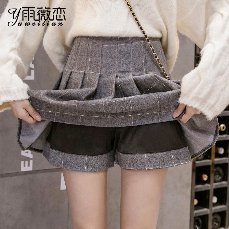 Plaid half-length skirt women's autumn and winter 2020 new woolen pleated skirt high waist a-line short skirt is thin winter skirt