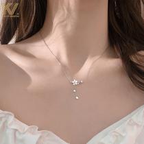Cherry blossom necklace female 2021 new Mori series small fresh fairy pendant ins fashion simple sterling silver collarbone chain