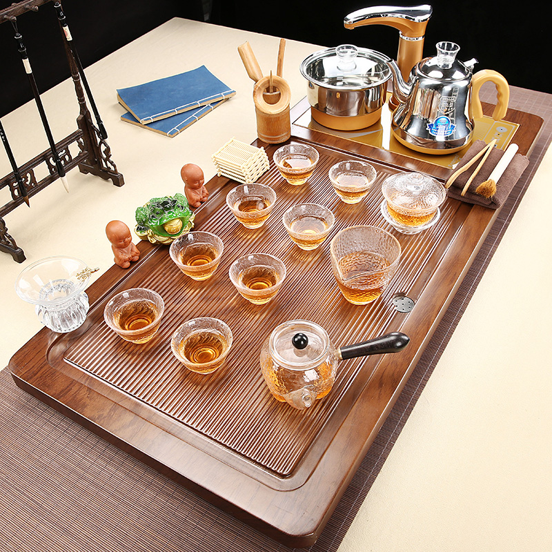 Glass Kung Fu tea set home flat-panel tea plate solid wood fully automatic all-in-one boiling tea table set of electric tea stove