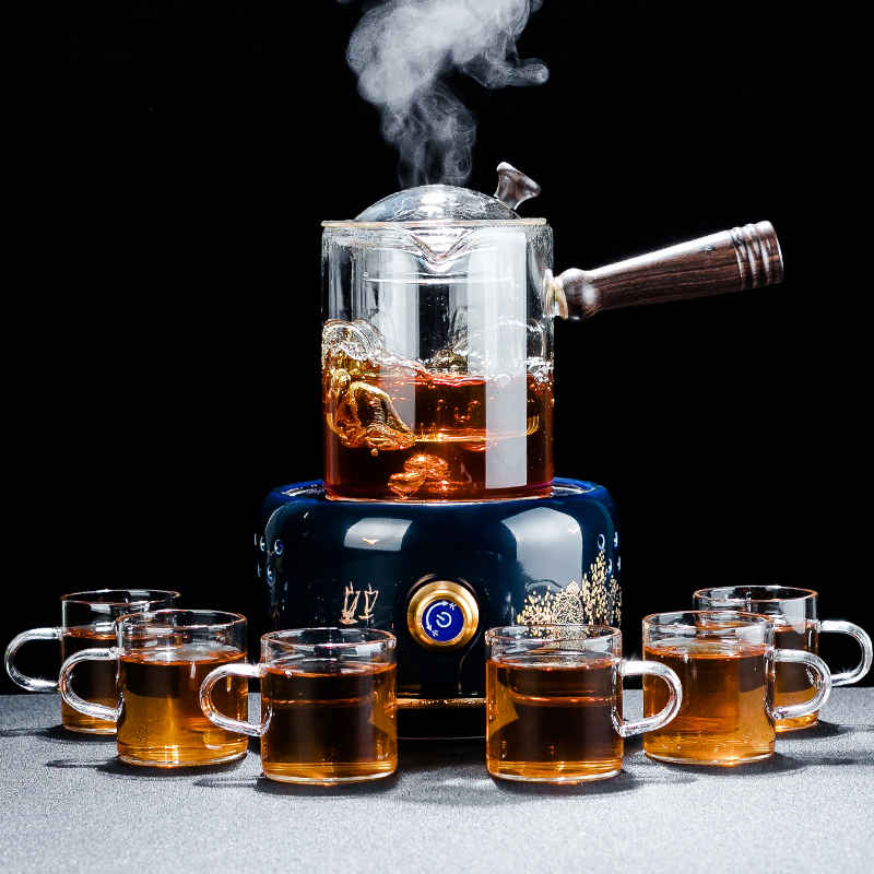 QinYi steam tea maker set glass brewing teapot fully automatic tea stove teapot small electric pottery stove home