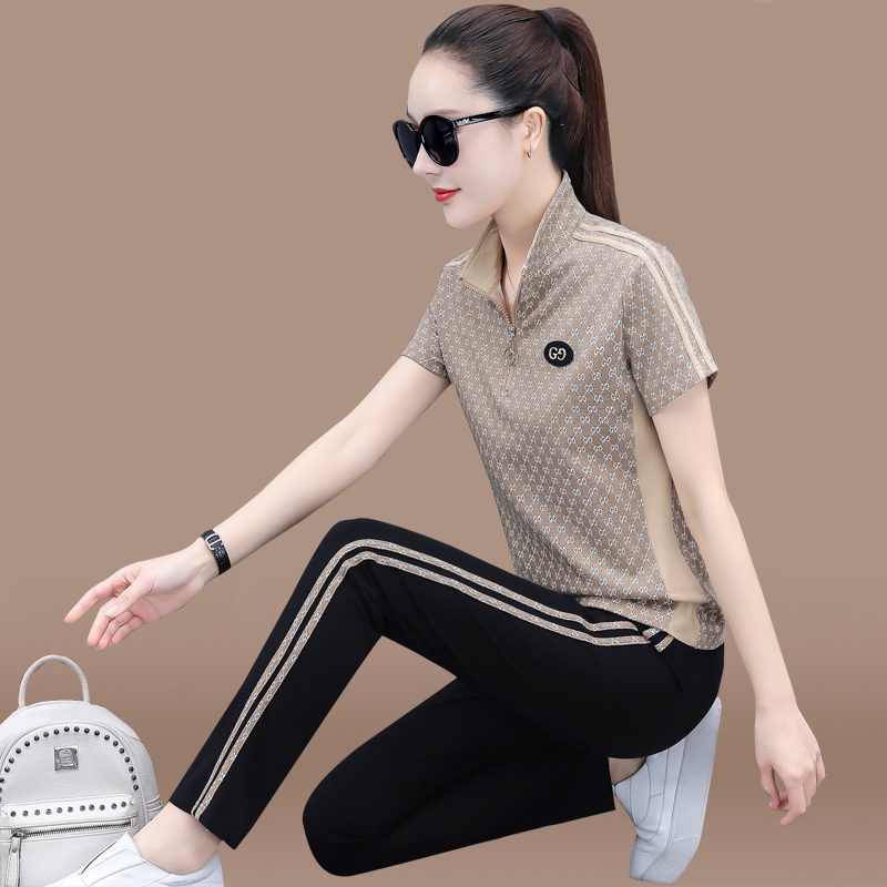 sports suit women summer 2021 new fashion large-size western air short-sleeved trousers casual running suit two-piece thin