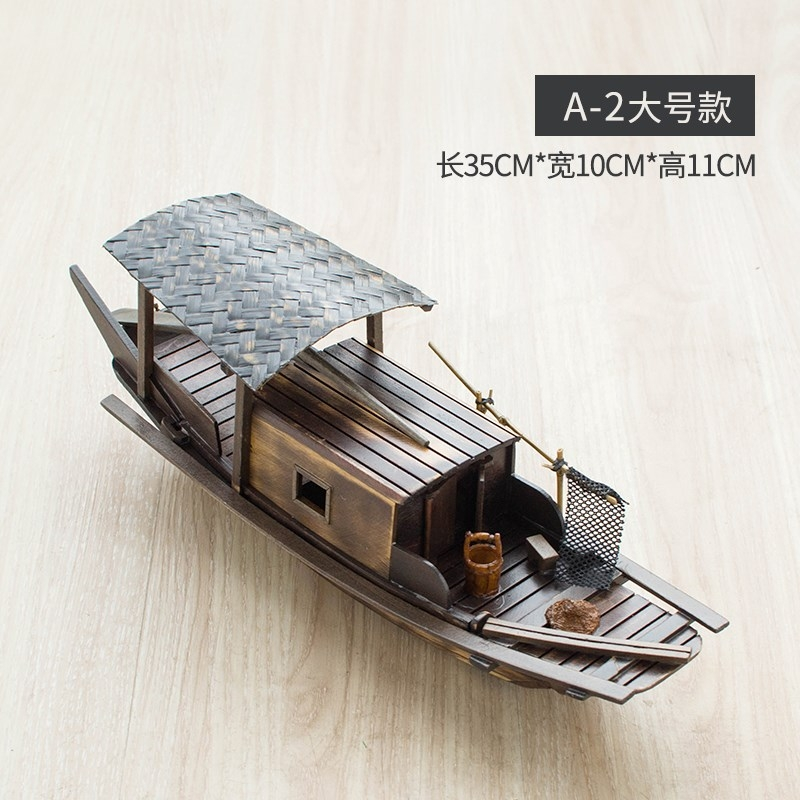 Chinese Windwood boat model ornaments handcraft boat ornaments solid wood boat fishing boat awning boat sailboat sightseeing boat