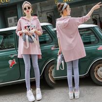 По беременности и родам футболку весенний костюм мода 2020 новый чистый красный низ блузка два комплекта средней длины ранней весной толстовка