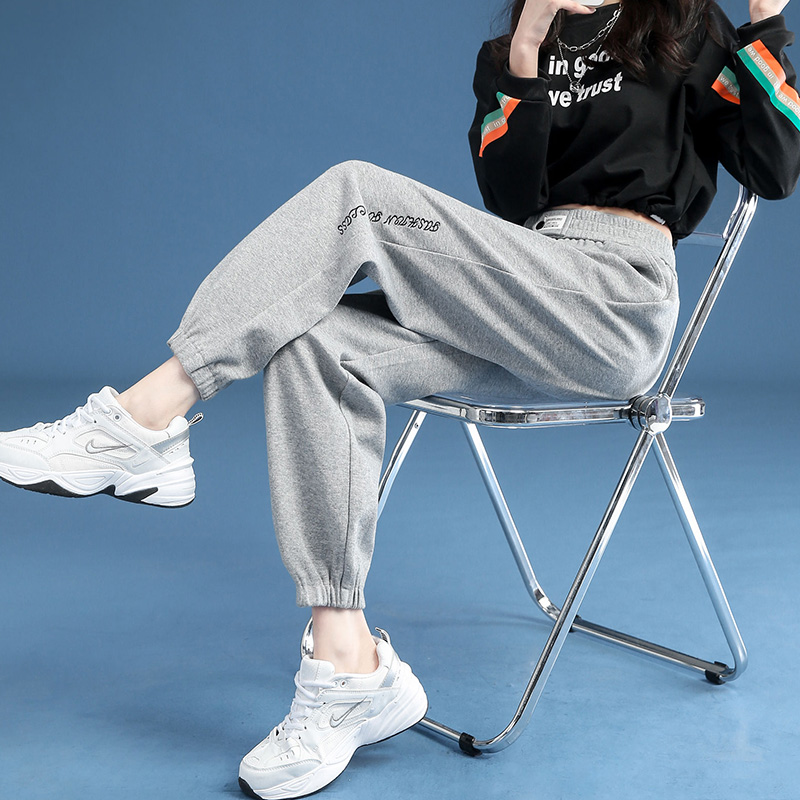 Grey sweatpants womens 2021 new loose-fitting leggings spring burst pants show thin summer and autumn casual womens pants