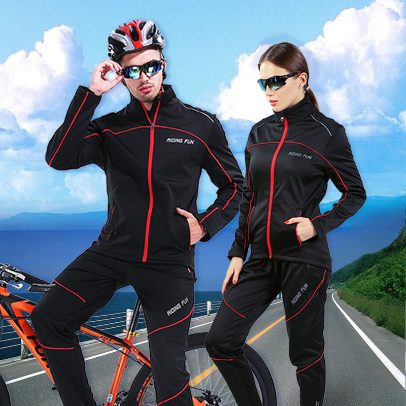 Autumn and Winter Cycling Suit Men's and Women's Furry and Warm Long Sleeve Trousers Outdoor Bench and Mountain Clothing Motorcycle Sportswear
