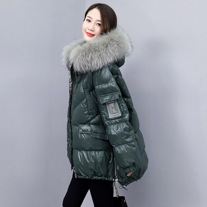 Bright-faced down cotton dress womens 2020 winter new loose short large fur collar bread suit thickened cotton jacket