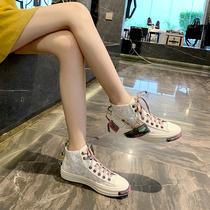 Гонконг купить натуральную кожу высокие туфли женщины 2020 весна новые светоотражающие холст обувь ins супер огонь случайные женщины прилив обувь