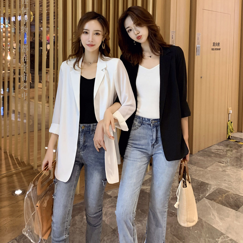 Chiffon small blazer women 2021 spring summer new Korean version of loose sunscreen clothes long air-conditioning cardigan thin