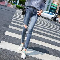 Korean version of high waist show thin hole tight thin section nine pants