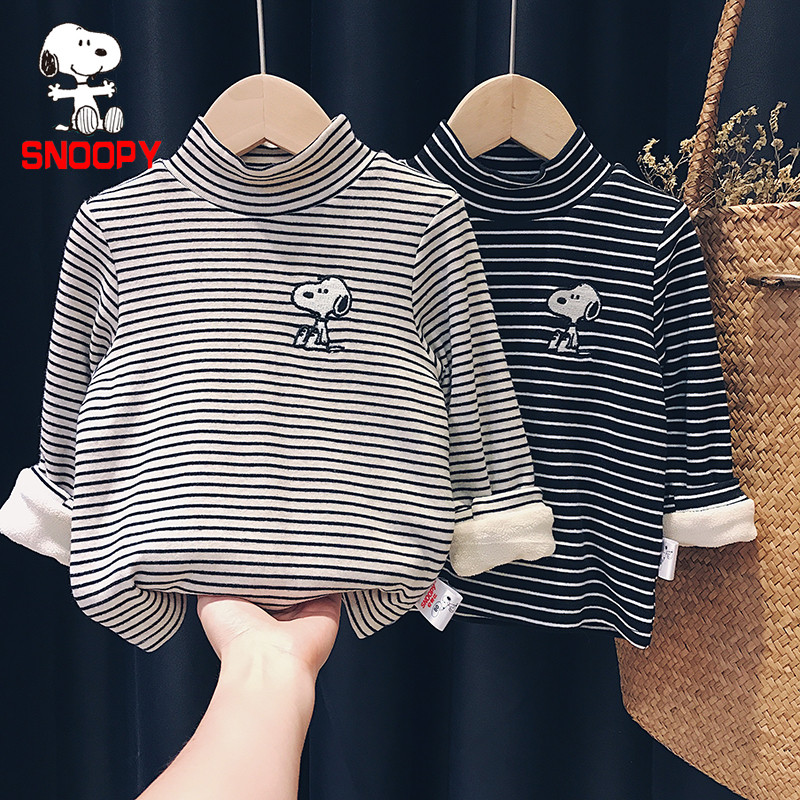 Snoopy/SNOOPY boys and girls high neck bottoming shirt baby autumn and winter plus velvet thick long-sleeved T-shirt children's shirt