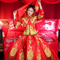 Show WO clothing bride 2018 the new dragon and Phoenix gown costume Chinese style wedding show and wedding wedding dress dress summer female