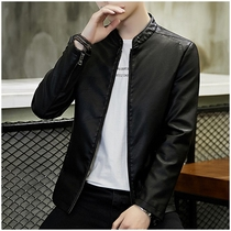 Leather Mens spring and autumn new Korean version slim trend coat mens handsome plus velvet thick motorcycle leather jacket