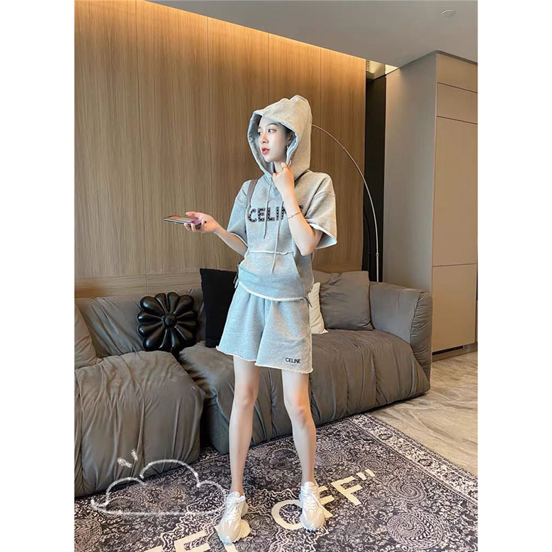 Letter logo printed hooded sweatshirt set Spring and summer casual lazy wind sports set loose and versatile two-piece set