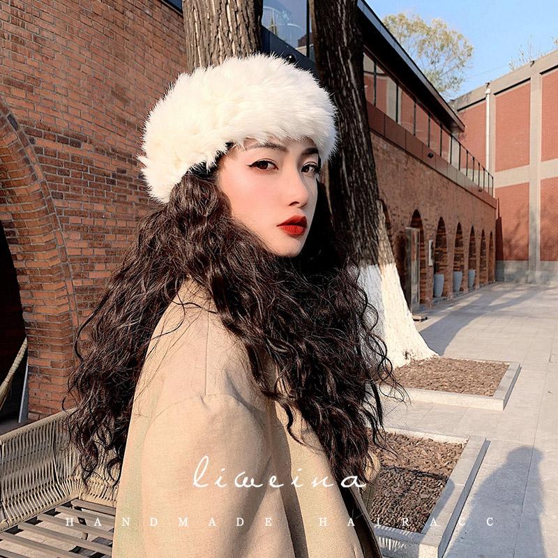 兔毛髮带女秋冬外出髮箍网红宽边时尚宽头套头饰毛毛髮箍2020新款