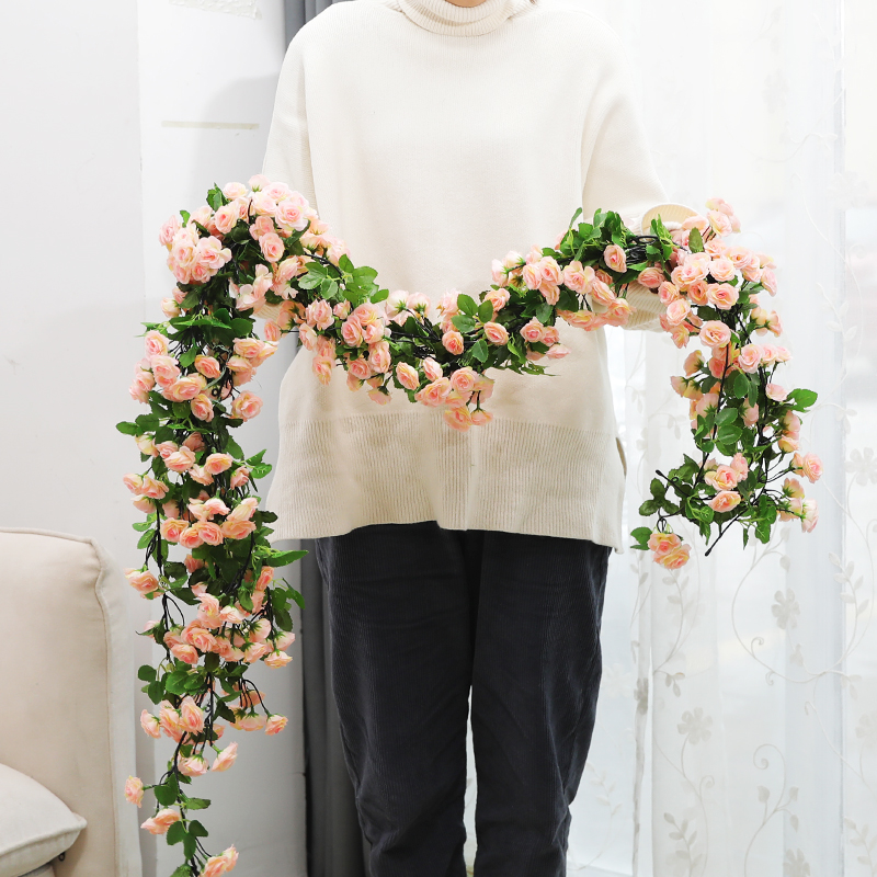 Simulated rose fake flower rattan hanging basket rattan chair decorated hanging ceiling air-conditioning pipe decoration flower rattan cover winding