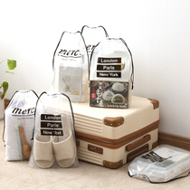 Travel shoes bags shoes bags shoes storage bags shoes dust bag finishing bags transparent slippers beam pocket
