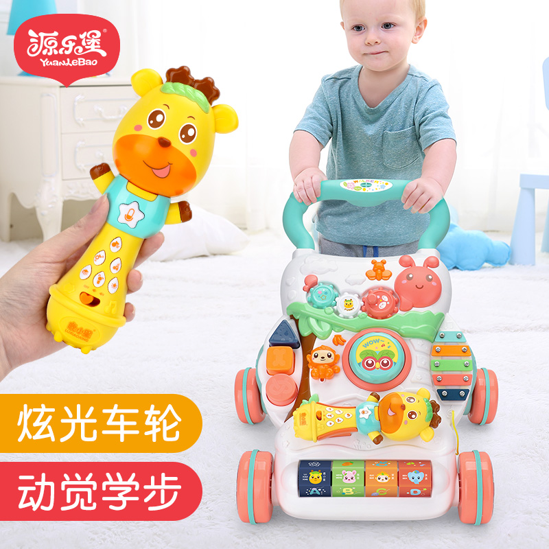 Brilliant Wheel Baby Walker Multifunctional Roll-proof Baby Walking Aid Toys for 6-18 Months