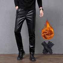 Winter slimming stretch small feet men loose fur all-in-one pants