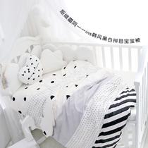 爱予原创INS韩风简约黑白系拼色全棉纯棉婴儿童被单宝宝被套定做