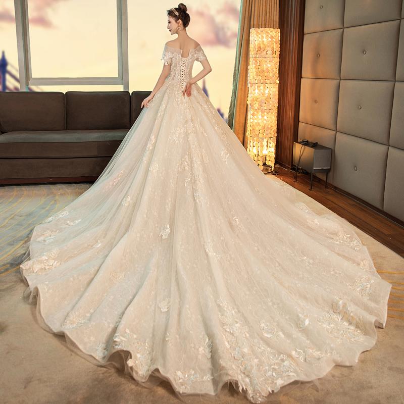 Wedding dress 2021 new bride French super fairy dreamsen tail temperament a word shoulder high waist small spring