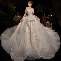 One shoulder main wedding dress bride 2021 New Vintage big tailing French light starry Princess Palace style