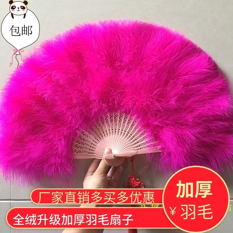 Cheongsam Walking Show Fan Plum Flower Double Face Fan Classical Fine Fur Thickening Feather Fan Dancing Feather Fan