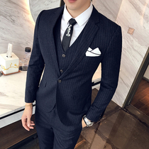 Mens youth Korean slim British style suit suit