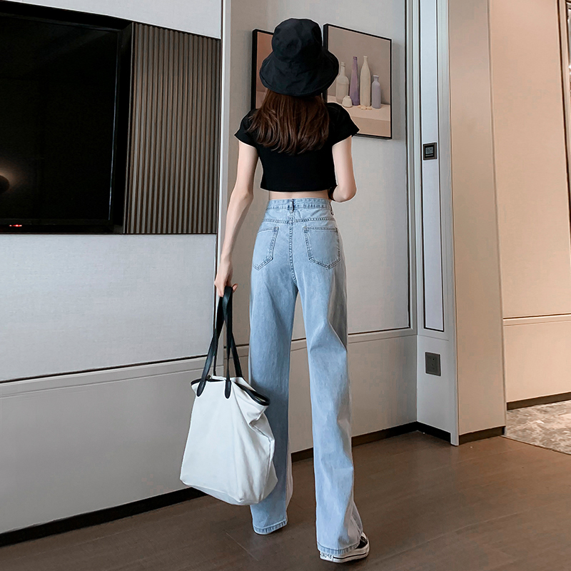 Wide-legged jeans womens thin 2021 spring dress new high-waisted straight tube loose-fitting look lean泫 elegant drag pants