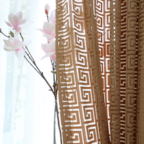 Classical Chinese thickened window yarn back character Chinese wind curtain bedroom living room study hollowed jacquard fabric