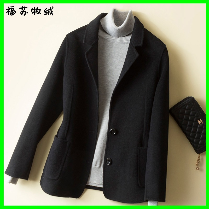 Spring and autumn double-sided cashmere coat Female slim black short wool jacket suit suit tooling small man