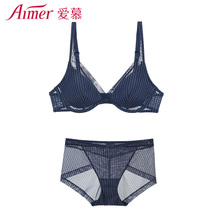 (Cave cup) love stripe mood bra panties Set am131531+am231531
