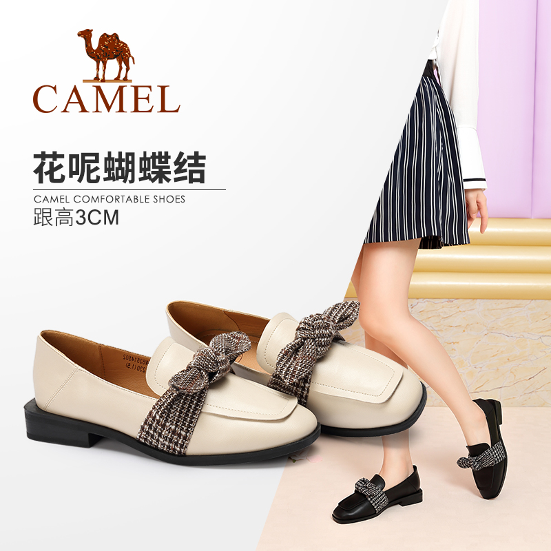 Camel Shoes Autumn New British Style Fashion Elegant Butterfly Knot Square Head Low heel Comfortable Single Shoe Women