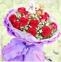 Suitable for Valentines Day Qianan flower Courier 11 Red roses Gaobeidian Renqiu Fushun County send flower lover Confession