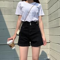Black denim shorts womens summer thin section 2021 new high waist thin loose wide leg hot girl a word white