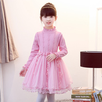 Autumn girl dress plus plus plush sweater yang air childrens princess dress in the big child winter thick skirt autumn winter winter