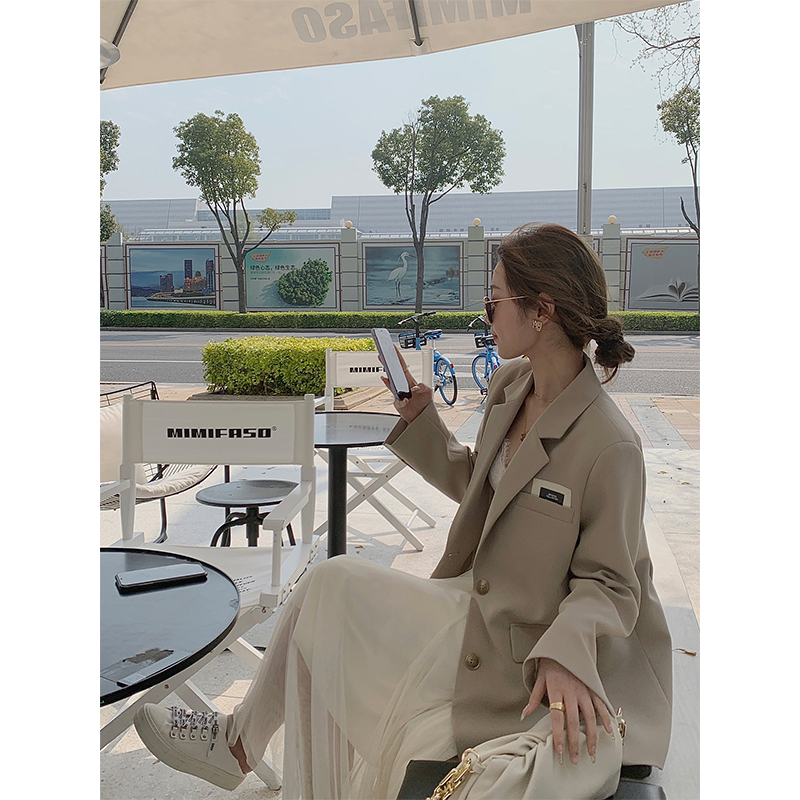 cchen Chen Chen _ Coffee color blazer female design sense niche 2021 spring and autumn new casual loose suit