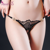 Erotic Clothes Embroidery Lace open crotch pendant underwear Passion products Perspective set women feel t pants