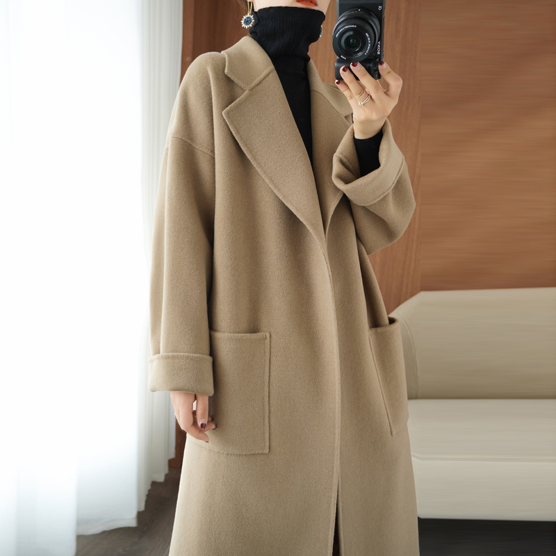 20 autumn and winter new double-sided cashmere coat female medium-length version of the profile loose thickened 100% wool wool coat Lai