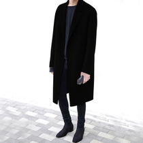 Double-sided cashmere coat mens middle-length version over knee windshield Korean version of the trend British wind winter mens wool coat