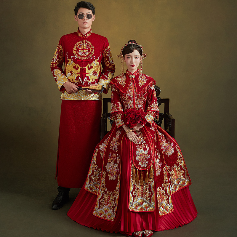 Xiuhe clothing bride 2021 new Chinese wedding dress wedding dress wedding dress Wedding dress Dragon and phoenix gown toast clothing show kimono spring and summer