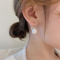 South Korea bow pearl earrings pure silver temperament high sense light luxury and atmosphere in 2021 new fashion earrings