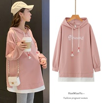 Pregnant women spring clothes clothes Western fashion spring and autumn models two sets of small men sweater pregnancy out dress