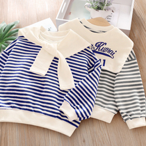 Children sweater 2020 spring new Korean version of the female baby Navy wind casual T-shirt boys striped wild shirt