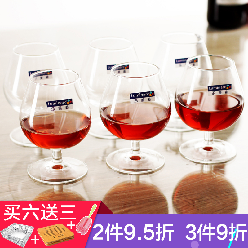 Le Meiya Glass Brandy Glass Short Bar Wine Glass Whiskey Cup Western Wine Cup 6 Set Household